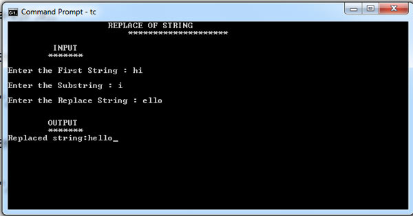 C Program For Replace a String
