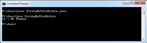 StringBuffer delete() Method in Java Example