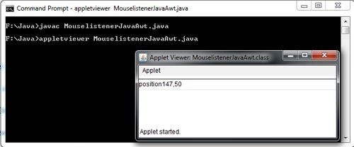Mouselistener in Java Awt Example