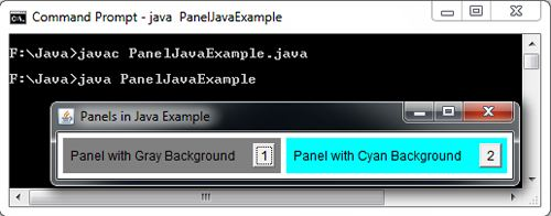 Panels in Java Example