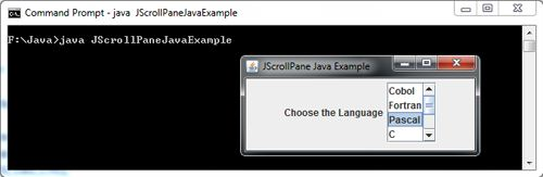 JScrollPane in Java Swing Example