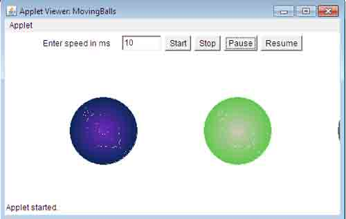 Moving Ball Using Thread in Java Example