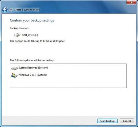 How to create a system backup of Windows 7