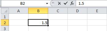 Cell numeric value appears in cell and formula bar