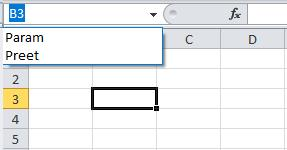 Clicking on the arrow icon on the right side of the name field expands the list of named cells and ranges