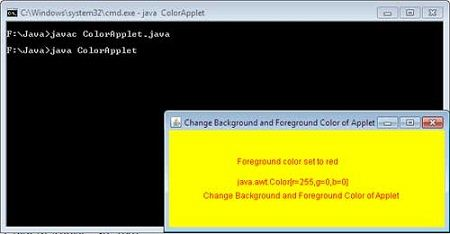 How To Change Background And Foreground Color Of Applet In Java Computer Notes