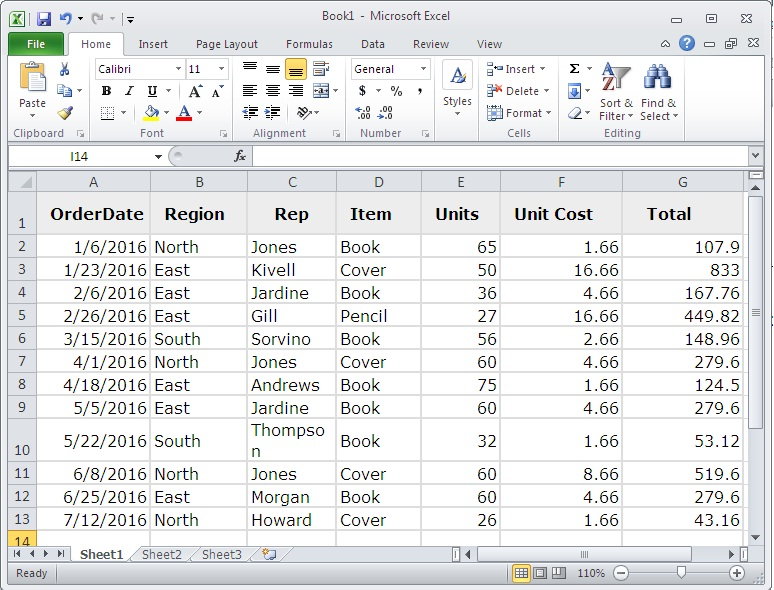 Excel 2010 Sample Table