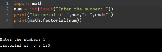 Factorial program in python using the function