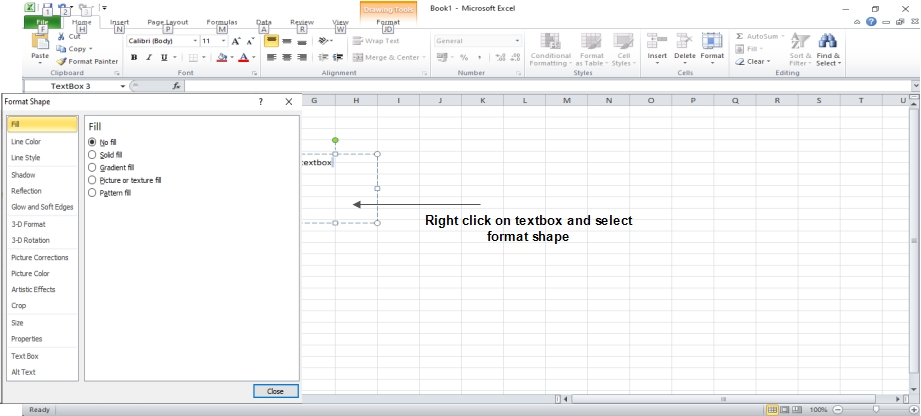 Format Text box in Excel 2010