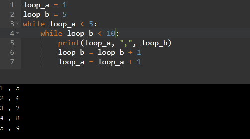 Nested while loop in Python
