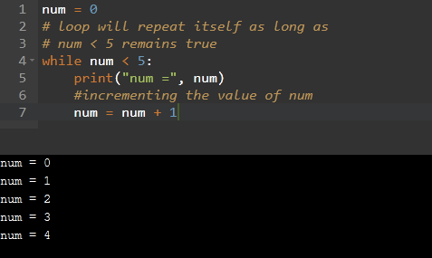 While loop example in Python