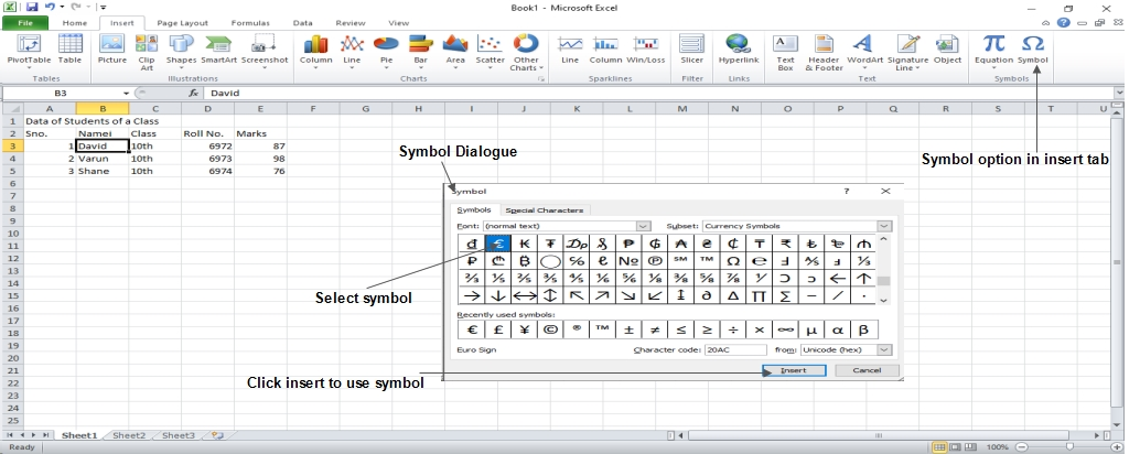 available symbols in excel 2010