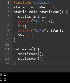 static specifier applies to a global variable storage classes in C