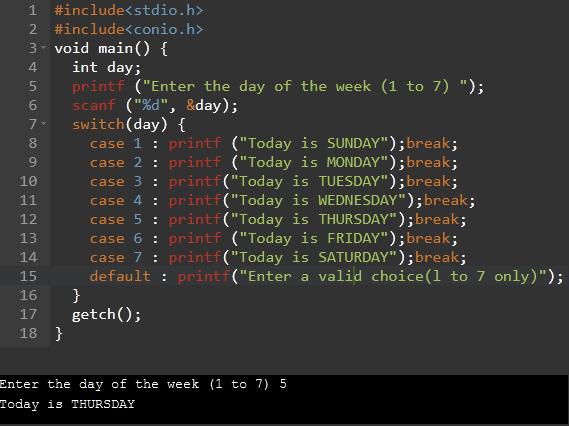 switch case in c program
