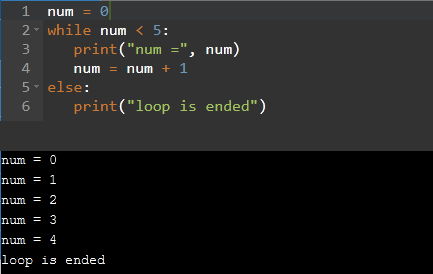 while loop with else block in python